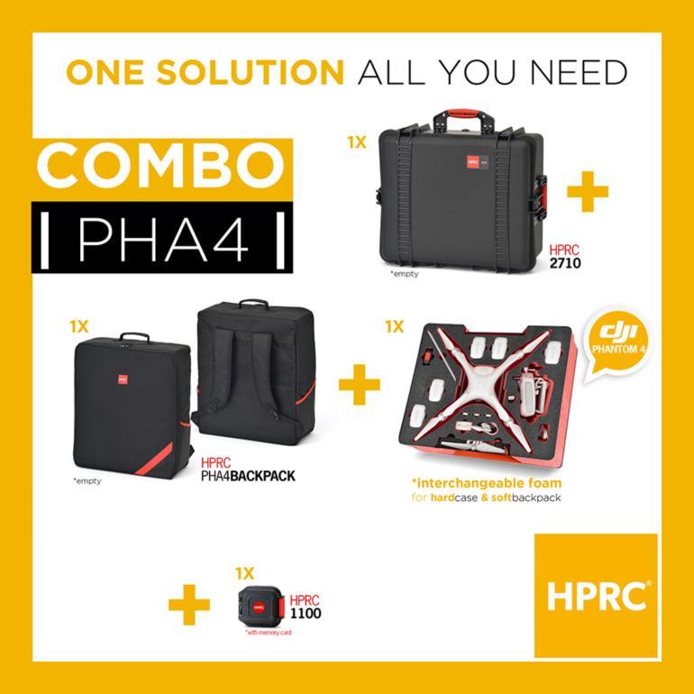COMBO - HPRC2710 + SOFT BAG FOR DJI Phantom4 /4Pro/4Pro+ (INTERCHANGEABLE FOAM)