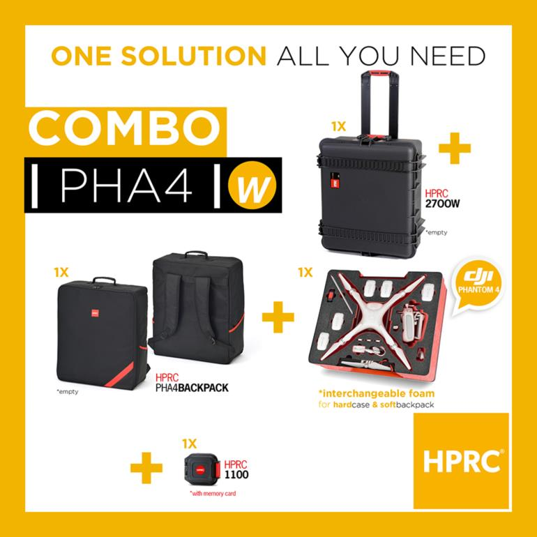 COMBO - HPRC2700W + SOFT BAG FOR DJI PHANTOM4/4Pro/4 Pro+(INTERCHANGEABLE FOAM)